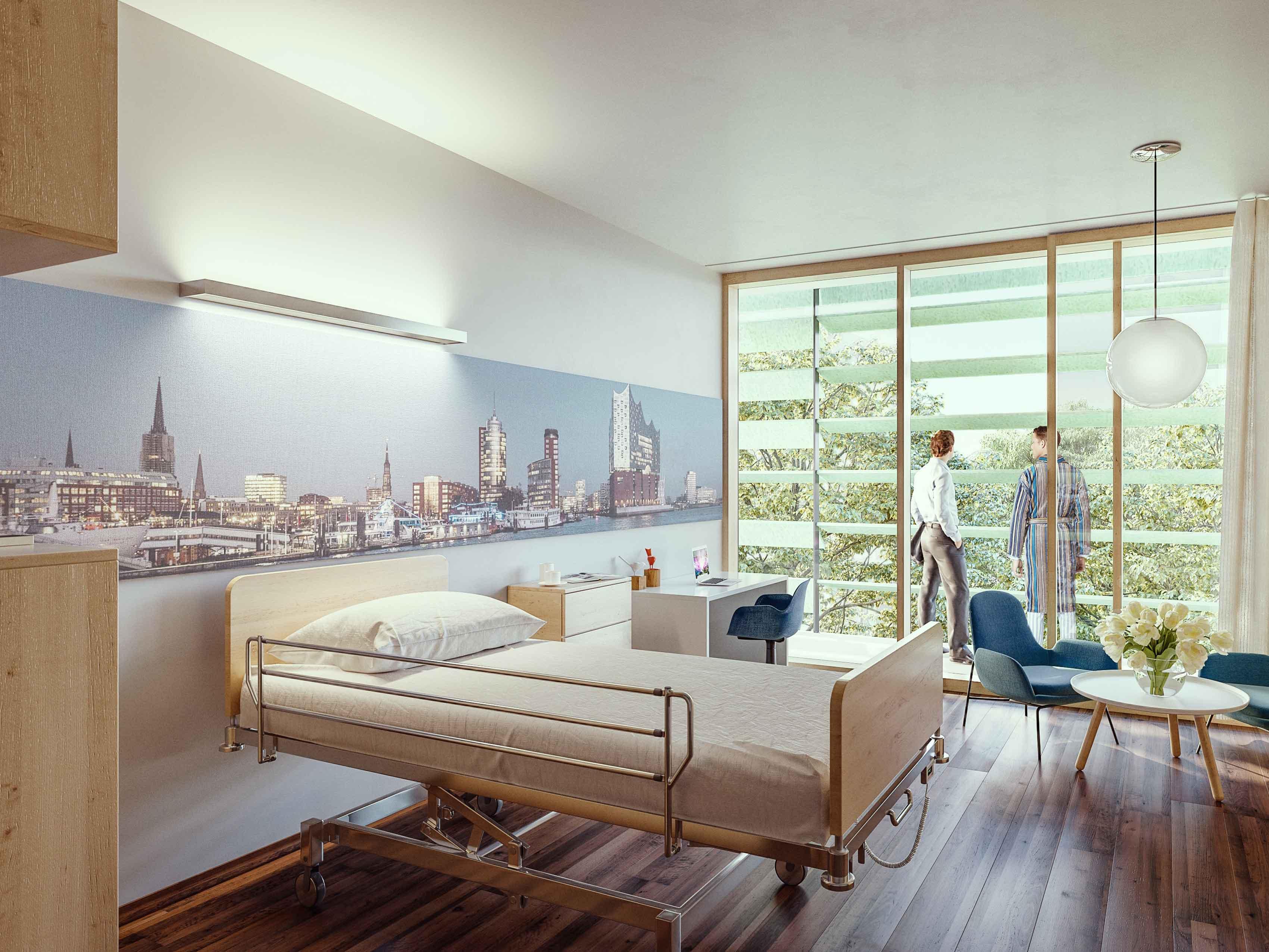 Neubau der Martini-Klinik Rendering Patientenzimmer