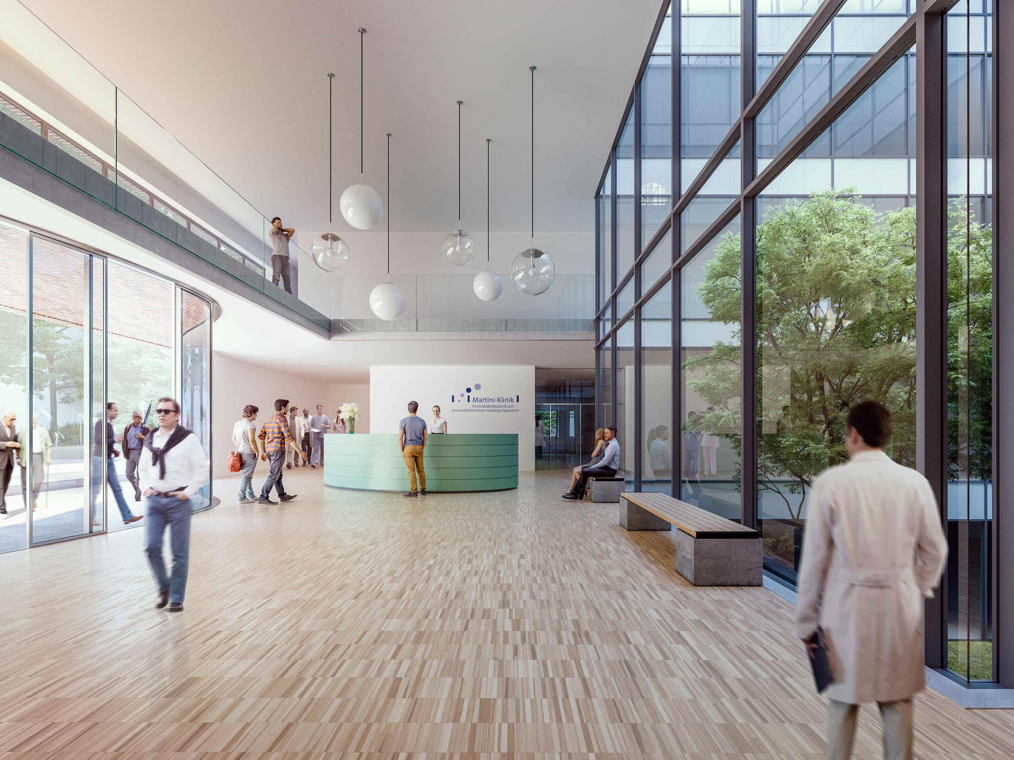 Neubau der Martini-Klinik Rendering Foyer