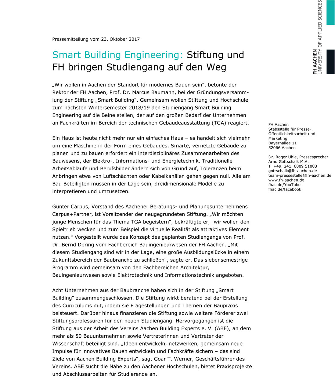Neuer Studiengang Smart Building Engineering