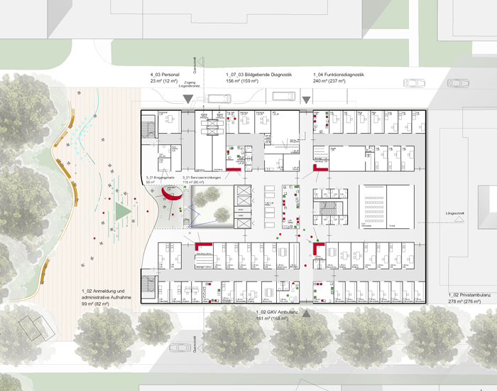 PL Architekten Grundriss. Neubau der Martiniklinik des Universitätsklinikums Hamburg-Eppendorf